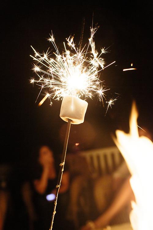 Marshmallow toasts on sparkler