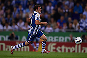BARCELONA, SPAIN - MAY 11: Victor Sanchez of RCD Espanyol in action during the Liga BBVA between RCD Espanyol and Real Madrid CF at the Cornella-El Prat Stadium on May 11, 2013 in Barcelona, Spain. (Photo by Aitor Alcalde Colomer).