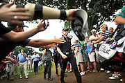 Jul 31, 2016; Springfield, NJ, USA; Jimmy Walker walks to the 18th hole tee box during the Sunday round of the 2016 PGA Championship golf tournament at Baltusrol GC - Lower Course. Mandatory Credit: Eric Sucar-USA TODAY Sports