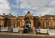 The quiet exterior of Carnegie Library in Herne Hill, south London while occupiers remain inside the premises on day 9 of its occupation, 8th April 2016. The angry local community in the south London borough have occupied their important resource for learning and social hub for the weekend. After a long campaign by locals, Lambeth have gone ahead and closed the library's doors for the last time because they say, cuts to their budget mean millions must be saved.
