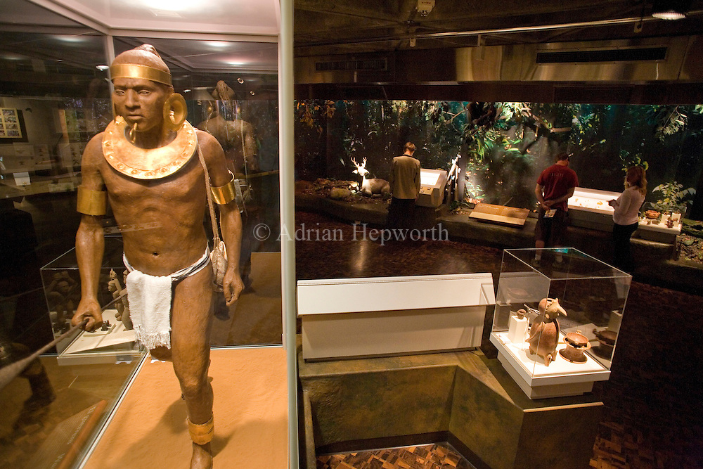 Statue of indigenous warrior with gold adornments in the Costa Rican Gold Museum, San Jose, Costa Rica.<br /> <br /> For pricing click on ADD TO CART (above). We accept payments via PayPal.