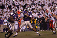 Kansas State quarterback Josh Freeman (1) drops back to pass against Nebraska at Bill Snyder Family Stadium in Manhattan, Kansas, October 14, 2006.  The Huskers beat the Wildcats 21-3.<br />