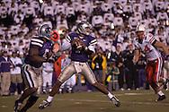 Kansas State quarterback Josh Freeman (1) drops back to pass against Nebraska at Bill Snyder Family Stadium in Manhattan, Kansas, October 14, 2006.  The Huskers beat the Wildcats 21-3.<br />