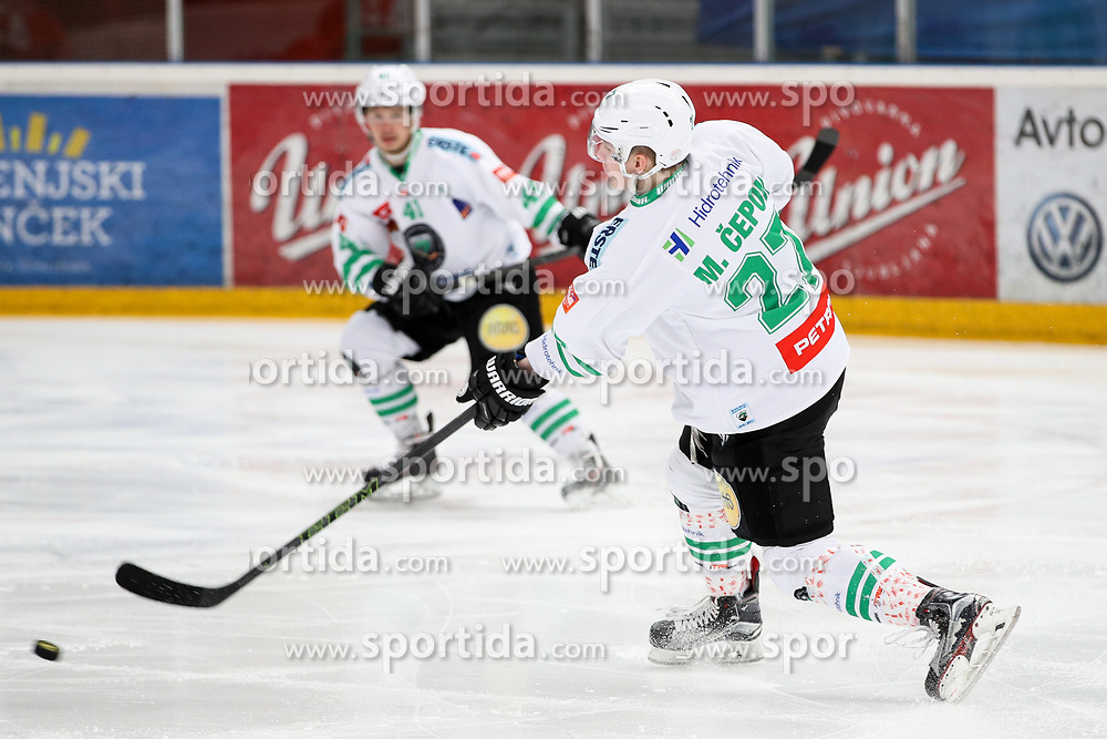 Mark Cepon of Olimpija during ice hockey match between HDD SIJ Acroni Jesenice and HDD Olimpija Ljubljana in Final of Slovenian League 2016/17, on April 9, 2017 in Podmezaklja, Jesenice, Slovenia. Photo by Matic Klansek Velej / Sportida
