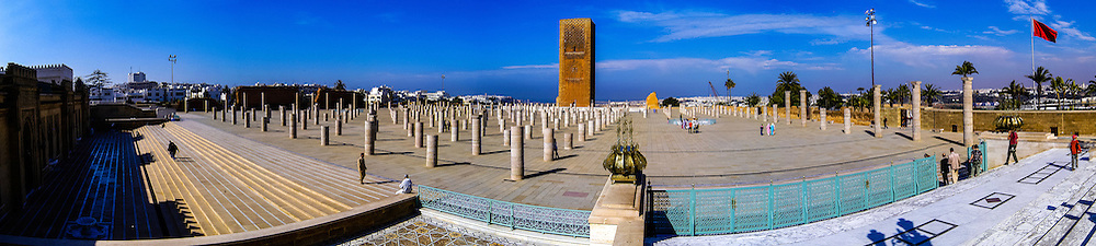 Panorama. Hassan Tower or Tour Hassan is the minaret of an incomplete mosque in Rabat, Morocco.