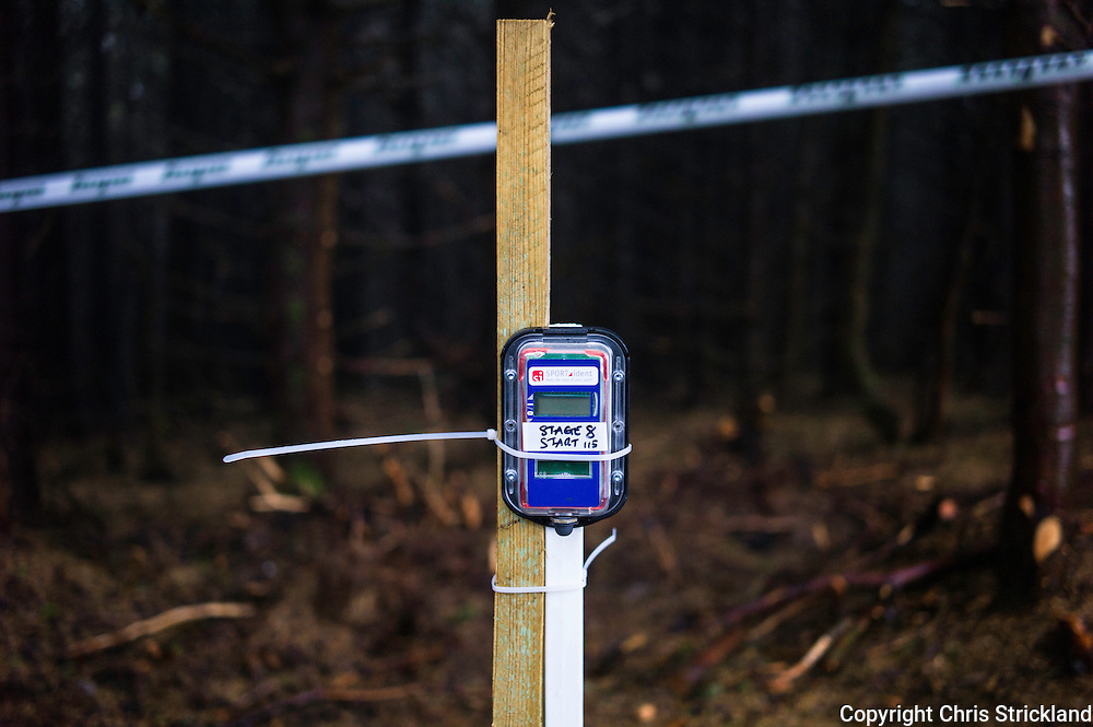 Glentress, Peebles, Scotland, UK. 31st May 2015. A timer mounted at the beginning of Stage 8 at The Enduro World Series Round 3 taking place on the iconic 7Stanes trails during Tweedlove Festival. © Chris Strickland / Alamy Live News
