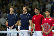 Jamie Murray and Andy Murray pictured with Yoshihito Nishioka and Yautaka Uchiyama before the round three singles match on second day of the Davis Cup by BNP Paribas match between Great Britain and Japan at the National Indoor Arena, Birmingham, England.<br /> Picture by Anthony Stanley/Focus Images Ltd 07833 396363<br /> 05/03/2016
