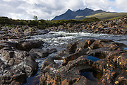 Black Cuillin mountain range at Sligachan, on Isle of Skye, Scotland, United Kingdom, Europe.