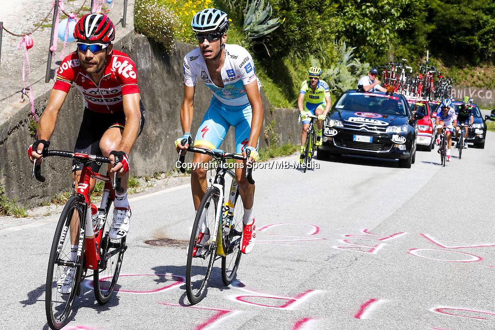 Fabio Aru - Astana / Maxime Monfort - Lotto Soudal - 28.05.2015 - Tour d'Italie - Etape 18 : Melide / Verbania <br />Photo : Pool / Sirotti / Icon Sport