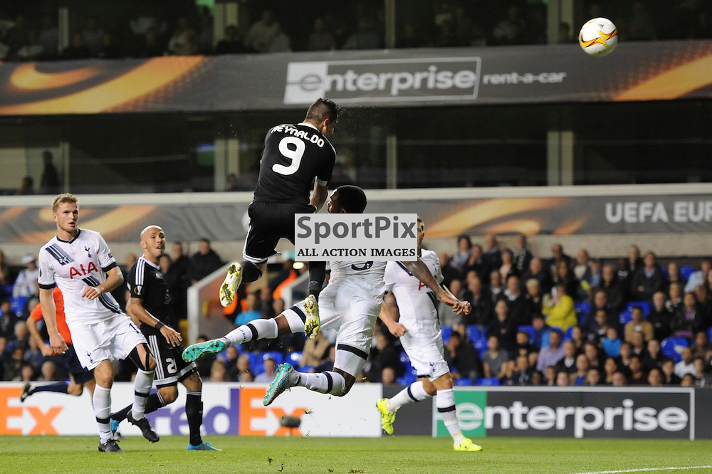 Qarabags Reynaldo gets a shot away during the Tottenham v Qarabag match in the Europa League group stage