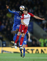 Leicester City's Wilfred Ndidi (left) and West Bromwich Albion's Grzegorz Krychowiak battle for the ball during the Premier League match at the King Power Stadium, Leicester.