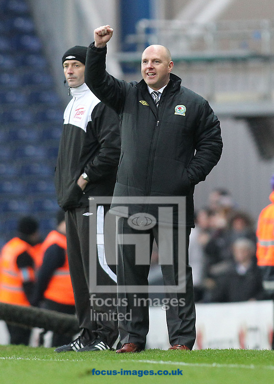 Picture by MIchael Sedgwick/Focus Images Ltd. 07900 363072.14/01/12.Steve Kean, manager of Blackburn celebrates the second goal against Fulham during the Barclays Premier League match at the Ewood Park stadium, Blackburn, Lancashire.