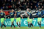 Onderwerp/Subject: Ajax - Eredivisie<br /> Reklame:  <br /> Club/Team/Country: <br /> Seizoen/Season: 2012/2013<br /> FOTO/PHOTO: Jody LUKOKI (RR) of Ajax celebrating his goal with FLTR Christian ERIKSEN ( Christian Dannemann ERIKSEN )  of Ajax and Ricardo VAN RHIJN of Ajax and Daley BLIND of Ajax and Siem DE JONG of Ajax and Lasse SCHONE of Ajax ( 2 - 4 ). (Photo by PICS UNITED)<br /> <br /> Trefwoorden/Keywords: <br /> #02 #18 $94 ±1342782825903<br /> Photo- & Copyrights © PICS UNITED <br /> P.O. Box 7164 - 5605 BE  EINDHOVEN (THE NETHERLANDS) <br /> Phone +31 (0)40 296 28 00 <br /> Fax +31 (0) 40 248 47 43 <br /> http://www.pics-united.com <br /> e-mail : sales@pics-united.com (If you would like to raise any issues regarding any aspects of products / service of PICS UNITED) or <br /> e-mail : sales@pics-united.com   <br /> <br /> ATTENTIE: <br /> Publicatie ook bij aanbieding door derden is slechts toegestaan na verkregen toestemming van Pics United. <br /> VOLLEDIGE NAAMSVERMELDING IS VERPLICHT! (© PICS UNITED/Naam Fotograaf, zie veld 4 van de bestandsinfo 'credits') <br /> ATTENTION:  <br /> © Pics United. Reproduction/publication of this photo by any parties is only permitted after authorisation is sought and obtained from  PICS UNITED- THE NETHERLANDS
