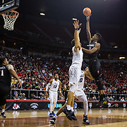 09 March 2018: San Diego State men's basketball takes on Nevada in the quarterfinal round of the Mountain West Conference Tournament. San Diego State Aztecs forward Malik Pope (21) goes up for a running jump shot in the first half. TThe Aztecs cruise past the Wolfpack 90-73 to move on to the Championship game tomorrow afternoon at 3pm.<br /> More game action at www.sdsuaztecphotos.com