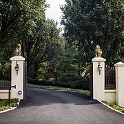 The gates of a home in Potomac Maryland, on Tuesday, September 26, 2017. Maryland's 6th District was redistricted in 2011, combining rural northern Maryland regions with more affluent communities like Potomac and Germantown. CREDIT: John Boal for The Wall Street Journal<br /> GERRYMANDER