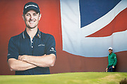 Justin Rose of England waits to take his putt on the 18th hole during the British Masters 2018 at Walton Heath Golf Course, Walton On the Hill, Surrey on 12 October 2018. Picture by Martin Cole.