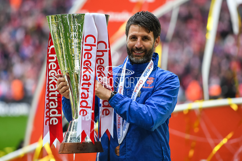 Lincoln City Manager Danny Cowley celebrates winning the Checkatrade Trophy during the EFL Trophy Final match between Lincoln City and Shrewsbury Town at Wembley Stadium, London, England on 8 April 2018. Picture by Stephen Wright.