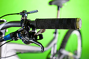 The front left handlebar controls on the Giant Bicycles Reign X model all-mountain bike.