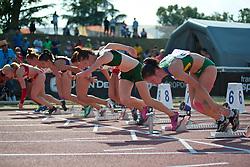 LIEBENBERG Anrune, FINDER Sheila, RODOMAKINA Nikol, FIODOROW Alicja, LALLWALA PALLIYAGURUNNANS Amara, SMARAGDI Styliani, ABSTEN Megan, RUS, POL, BRA, RSA, SRI, GRE, USA, 100m, T46, 2013 IPC Athletics World Championships, Lyon, France