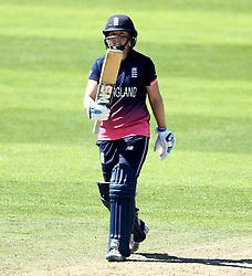 Heather Knight of England Women celebrates reaching 50 by raising her bat - Mandatory by-line: Robbie Stephenson/JMP - 02/07/2017 - CRICKET - County Ground - Taunton, United Kingdom - England Women v Sri Lanka Women - ICC Women's World Cup Group Stage
