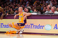30 October 2012: Guard (5) Steve Blake of the Los Angeles Lakers waits to go in the game against the Dallas Mavericks during the first half of the Mavericks 99-91 victory over the Lakers at the STAPLES Center in Los Angeles, CA.