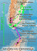 """A map of southern South America (Patagonia) summarizes our 2005 trip from Buenos Aires to Ushuaia on the island of Tierra del Fuego, Vernadsky Base run by Ukraine in Antarctica, Torres del Paine National Park in Chile, and Mount Fitz Roy in Argentina. In Chile, Patagonia includes the territory of Valdivia through Tierra del Fuego archipelago. Spanning both Argentina and Chile, the foot of South America is known as Patagonia, a name derived from coastal giants (""""Patagão"""" or """"Patagoni"""" who were actually Tehuelche native people who averaged 25 cm taller than the Spaniards) who were reported by Magellan's 1520s voyage circumnavigating the world."""