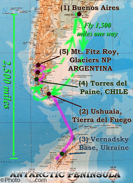 "A map of southern South America (Patagonia) summarizes our 2005 trip from Buenos Aires to Ushuaia on the island of Tierra del Fuego, Vernadsky Base run by Ukraine in Antarctica, Torres del Paine National Park in Chile, and Mount Fitz Roy in Argentina. In Chile, Patagonia includes the territory of Valdivia through Tierra del Fuego archipelago. Spanning both Argentina and Chile, the foot of South America is known as Patagonia, a name derived from coastal giants (""Patagão"" or ""Patagoni"" who were actually Tehuelche native people who averaged 25 cm taller than the Spaniards) who were reported by Magellan's 1520s voyage circumnavigating the world."