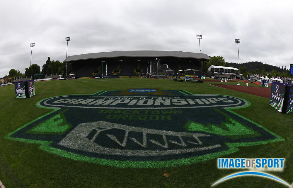 Jun 7, 2018; Eugene, OR, USA; General overall view of the NCAA Track and Field championships at Hayward Field.