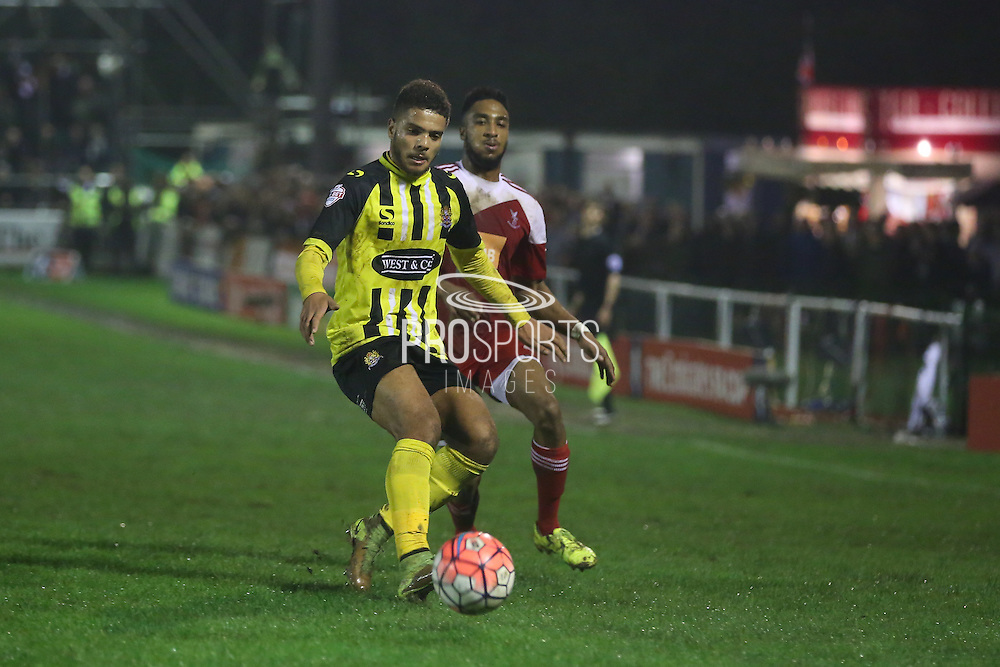 \Dagenham defender Josh Passley during the The FA Cup 2nd Round Replay match between Whitehawk FC and Dagenham and Redbridge at the Enclosed Ground, Whitehawk, United Kingdom on 16 December 2015. Photo by Phil Duncan.
