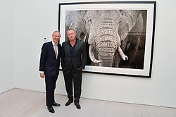 Left to right, CHARLIE MAYHEW and DAVID YARROW at a private view of photographs by wildlife photographer David Yarrow included in his book 'Encounter' held at The Saatchi Gallery, Duke of York's HQ, King's Road, London on 13th November 2013.