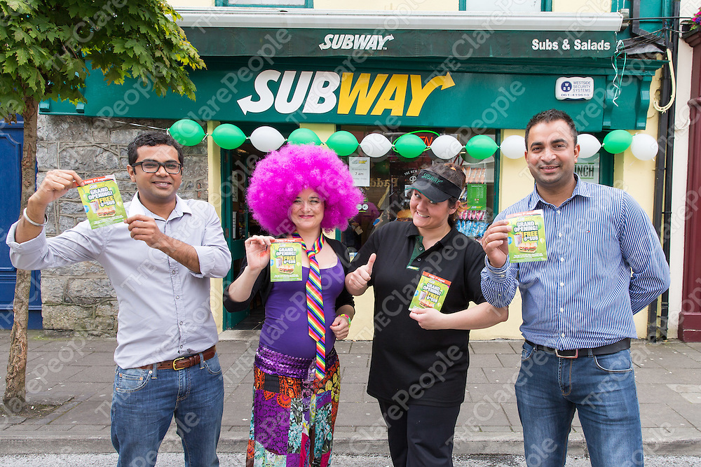 Sandis Singh, Lisa O'Brien, Sylvia Singh and Hami Singh at the Grand Opening of Subway in Ennis