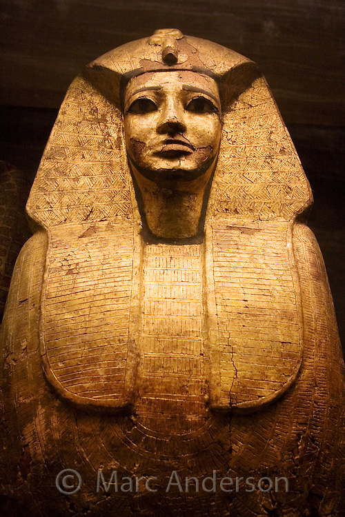 An Egyptian Sarcophagus at the Louvre museum in Paris, France