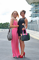 03/08/2012. 03/08/2012. Hannah Doyle from Killinard in Co. Laois and Nicole Collins Portlaois Laois at the Friday evening meeting of the Galway Races. Photo:Andrew Downes