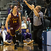 Loyola University Chicago junior Ben Richardson reacts after making a three-pointer against Kansas State in the Elite Eight round of the NCAA Tournament at Philips Arena in Atlanta, GA., on Saturday, March 24, 2018.  (Photo: Lukas Keapproth)