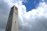 Belltower under cloudy skies.
