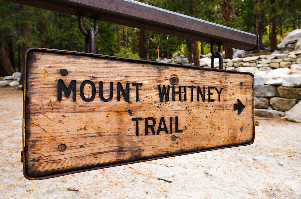 Mount Whitney Trail sign, John Muir Wilderness, California USA