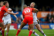 Sheffield Eagles replacement Mark Mexico (10) tackles Bradford Bulls loose forward Damian Sironen (10)  during the Kingstone Press Championship match between Sheffield Eagles and Bradford Bulls at, The Beaumont Legal Stadium, Wakefield, United Kingdom on 3 September 2017. Photo by Simon Davies.