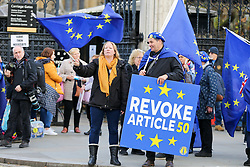 © Licensed to London News Pictures. 05/11/2019. London, UK. An anti-Brexit demonstrator holds a 'REVOKE ARTICLE 50' sign outside the Houses of Parliament. EU has granted an extension until 31 January 2020 for the UK to leave the European Union. Photo credit: Dinendra Haria/LNP