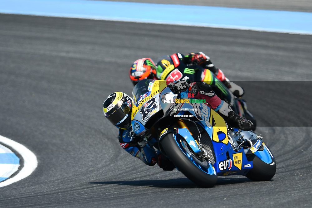 BURIRAM, THAILAND - OCTOBER 06: Thomas Luthi (12) of Switzerland and EG 0,0 Marc VDS in Turn 3 during FP3 at the MotoGP PTT Thailand Grand Prix 2018, Chang International Circuit, Buriram, Thailand on October 06, 2018. <br /> .<br /> .<br /> .<br /> (Photo by: Naratip Golf Srisupab/SEALs Sports Images)<br /> .<br /> Any image use must include a mandatory credit line adjacent to the content which should read: Naratip Golf Srisupab/SEALs Sports Images
