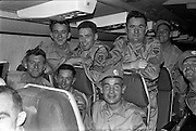 24/10/1962<br /> 10/24/1962<br /> 24 October 1962<br /> 38th Battalion advance party leave for the Congo for United Nations duty. the advance party of the 38th battalion and the 2nd Armoured Squadron left Dublin Airport for the Congo by specially chartered Sabena 707 Boeing jet. The 150 troops would arrive in the Congo the next day. Picture shows some of the 1st Fermoy Motor Squadron on board the aircraft prior to take off.
