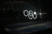 SOCHI, RUSSIA - FEBRUARY 07:  Huge snow flakes come togehter to make the Olympic rings in the stadium during the Sochi 2014 Winter Olympics Opening Ceremony in the Fisht Olympic Stadium on February 7, 2014 in Sochi, Russia. Photo: Ian MacNicol/www.photosport.co.nz
