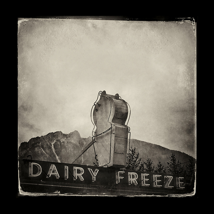 "Charles Blackburn image of a Scott's Dairy Freeze in North Bend, WA. 5x5"" print."