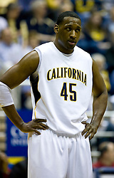 February 13, 2010; Berkeley, CA, USA;  California Golden Bears center Markhuri Sanders-Frison (45) during the first half against the Washington State Cougars at the Haas Pavilion.  California defeated Washington State 86-70.