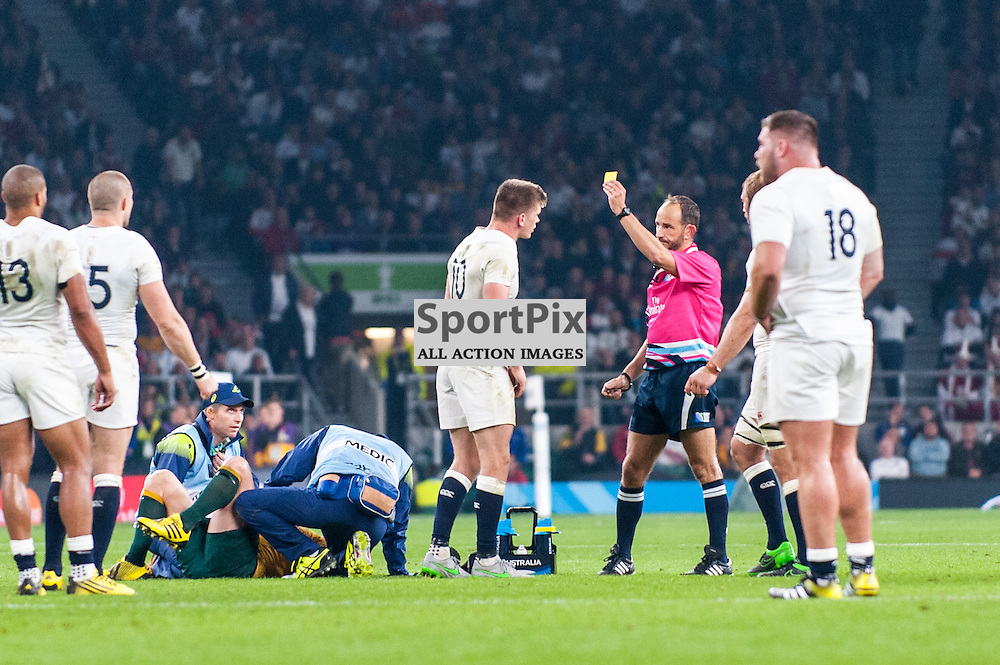 Owen Farrell of England is shown below card for a high tackle. Action from the England v Australia game in Pool A of the 2015 Rugby World Cup at Twickenham in London, 3 October 2015. (c) Paul J Roberts / Sportpix.org.uk