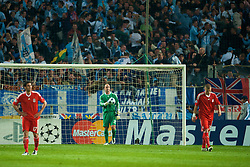 MARSEILLE, FRANCE - Tuesday, September 16, 2008: Liverpool's goalkeeper Pepe Reina looks dejected after conceding the opening goal against Olympique de Marseille during the opening UEFA Champions League Group D match at the Stade Velodrome. (Photo by David Rawcliffe/Propaganda)