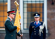 KIng Willem Alexander presented at the Binnenhof a new standard from the Royal Military Police