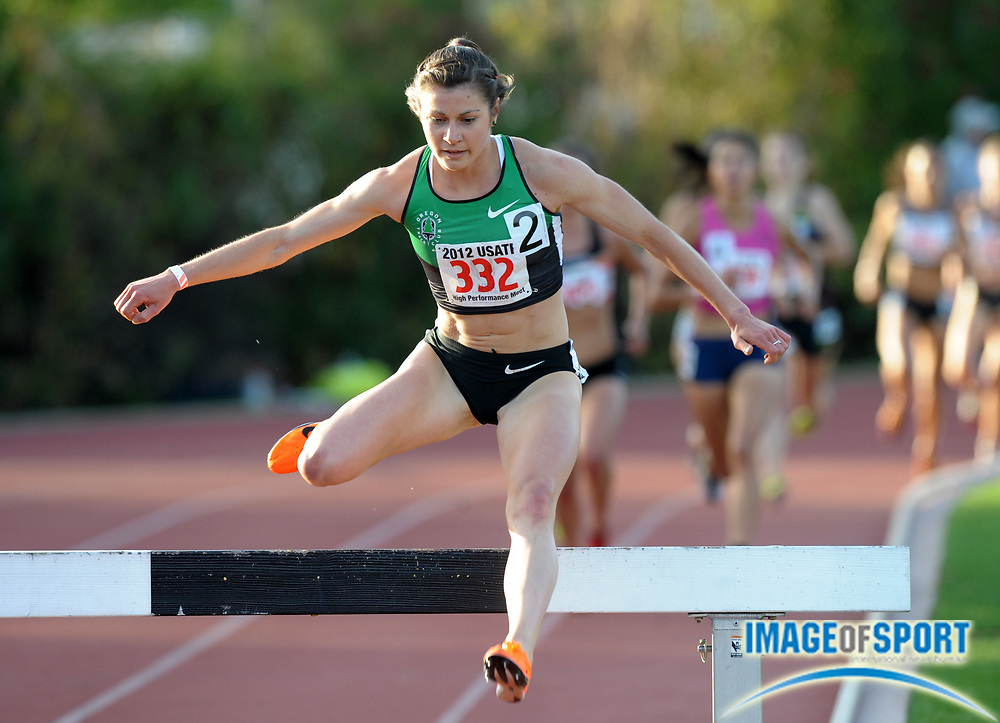 May 18, 2012; Los Angeles, CA, USA; Bridget Franek wins the womens steeplechase in 9:41.96 in the 2012 USATF High Performance meet at Occidental College.