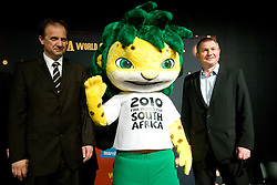 President of Slovenian football federation Ivan Simic and head coach of national team Matjaz Kek with official mascot leopard Zakumi at VIP reception of FIFA World Cup Trophy Tour by Coca-Cola, on March 29, 2010, in BTC City, Ljubljana, Slovenia.  (Photo by Vid Ponikvar / Sportida)