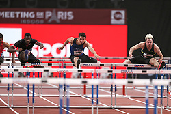 February 7, 2018 - Paris, Ile-de-France, France - From left to right : Benjamin Sedecias of France, Jonathan Cabral of Canada, Simon Krauss of France  compete in 60m Hurdles during the Athletics Indoor Meeting of Paris 2018, at AccorHotels Arena (Bercy) in Paris, France on February 7, 2018. (Credit Image: © Michel Stoupak/NurPhoto via ZUMA Press)
