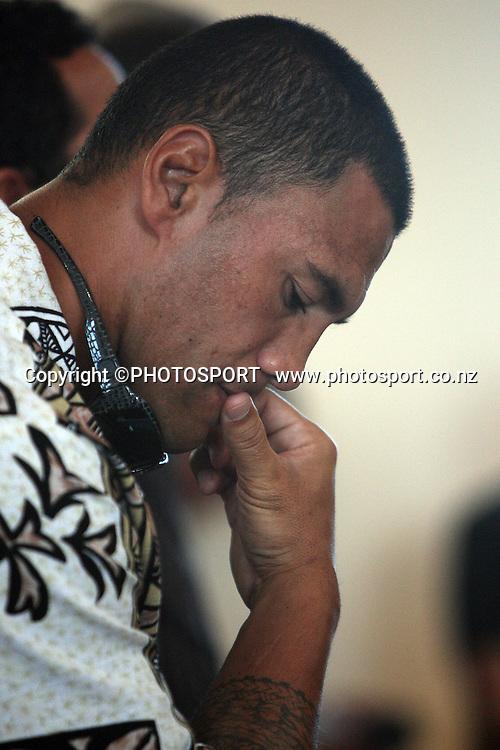 Ruben Wiki shows some emotion, Sonny Fai Menorial Service, Otahuhu, Auckland. 9 March 2009. Photo: William Booth/PHOTOSPORT